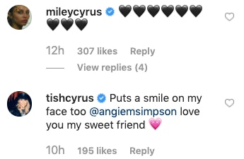 Comments from Miley Cyrus and Tish Cyrus on Angie Simpson's Instagram post