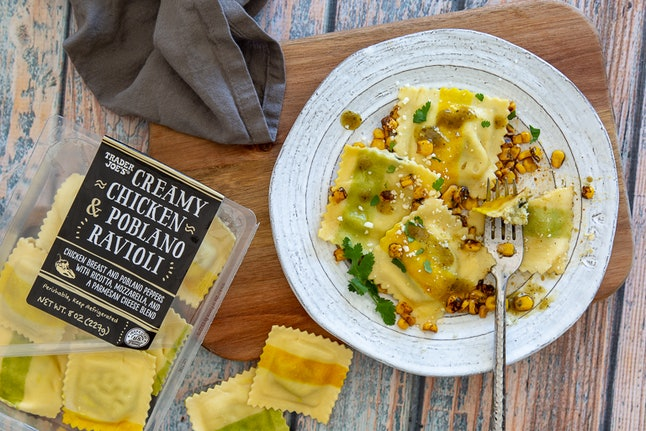 Enjoy this creamy chicken and poblano ravioli in six minutes or less. Image credit: Trader Joe's