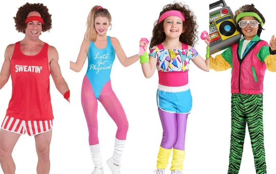 A family wearing '80s workout Halloween costumes