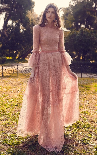 Gossamer Lace Dress With Fluted Sleeves