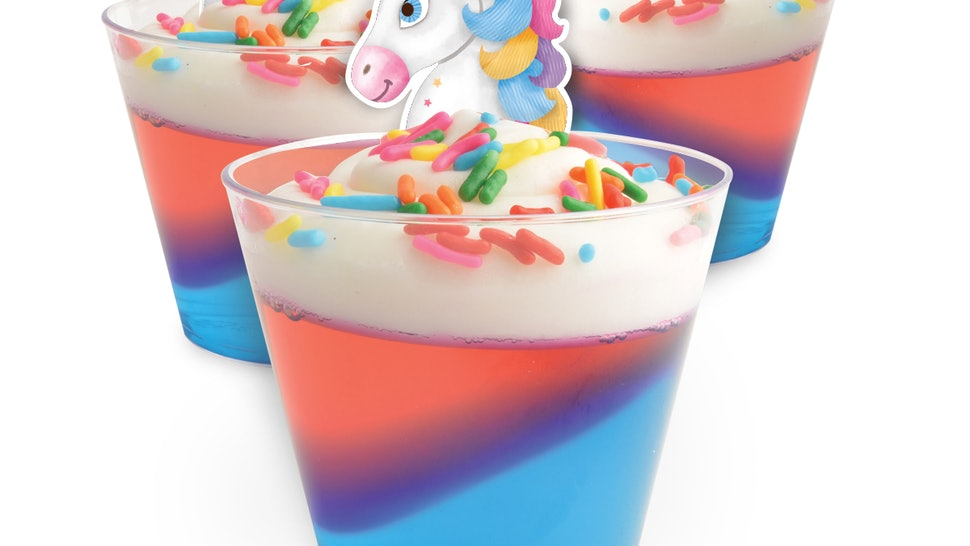 You can get unicorn gelatin shot kits at Walmart now.