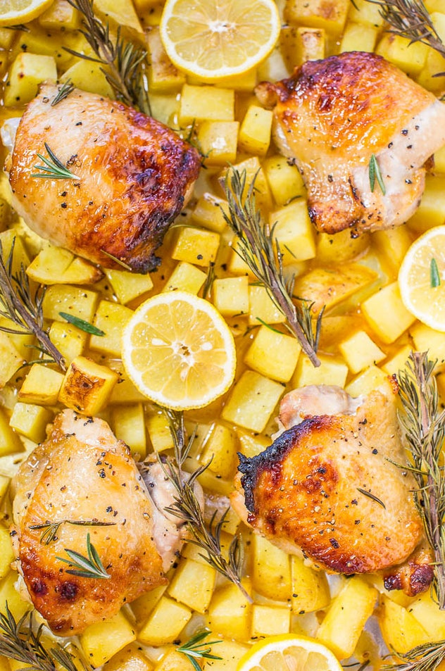 sheet pan recipes with chicken thighs, one pan honey lemon chicken and roasted potatoes