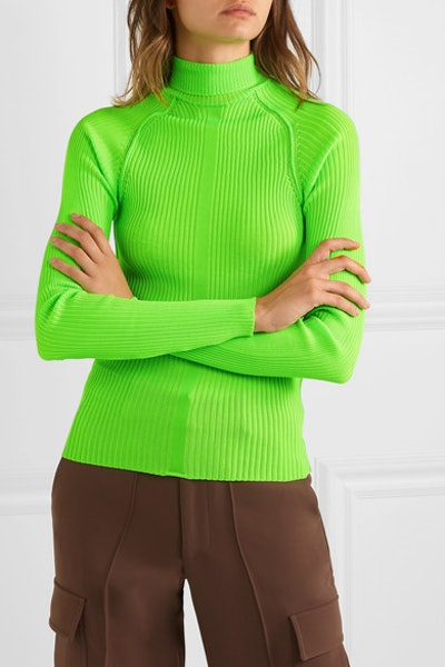 Komina Neon Ribbed-Knit Turtleneck Sweater