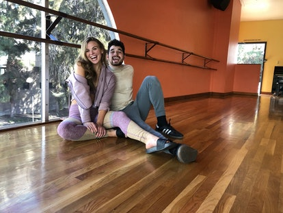 Hannah Brown with her DWTS partner Alan Bersten preparing for Disney Week on DWTS.