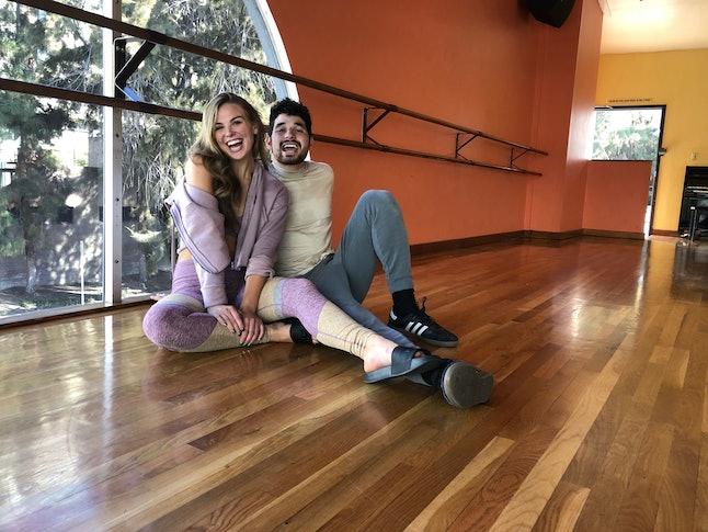 Hannah Brown with her DWTS partner Alan Bersten preparing for Disney Week on DWTS.