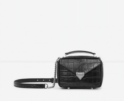 Mini Black Barbara Bag In Crocodile