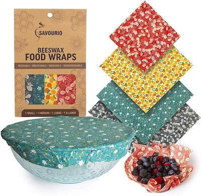 Savourio Reusable Beeswax Food Wrap (4-Piece Set)