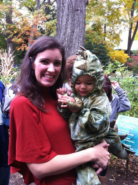 Author Cat Bowen holds autistic son in his soft, sensory-friendly Halloween costume.