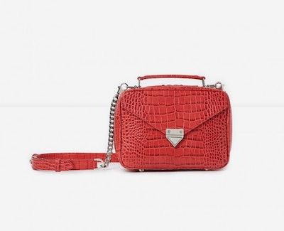 Medium Red Barbara Bag In Crocodile