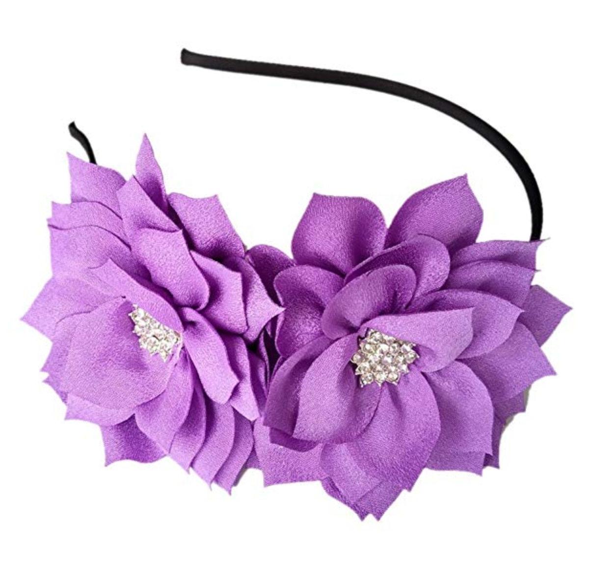Coolwife Fascinator Headband Hair Clip Lotus Flower Headpiece