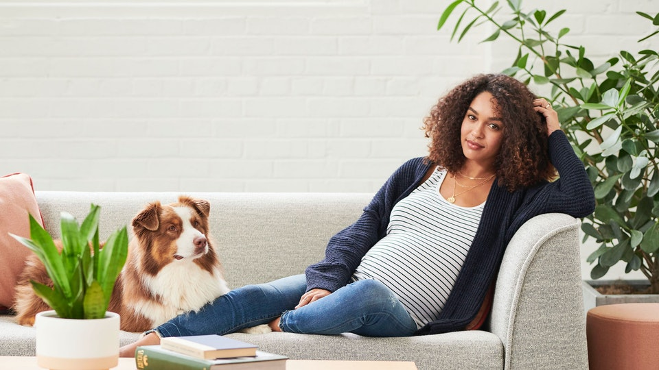 Woman in maternity clothes on couch with dog