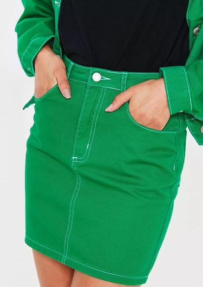 green contrast stitch co ord denim skirt