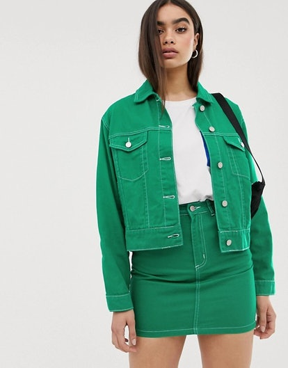 Missguided two-piece denim jacket in green