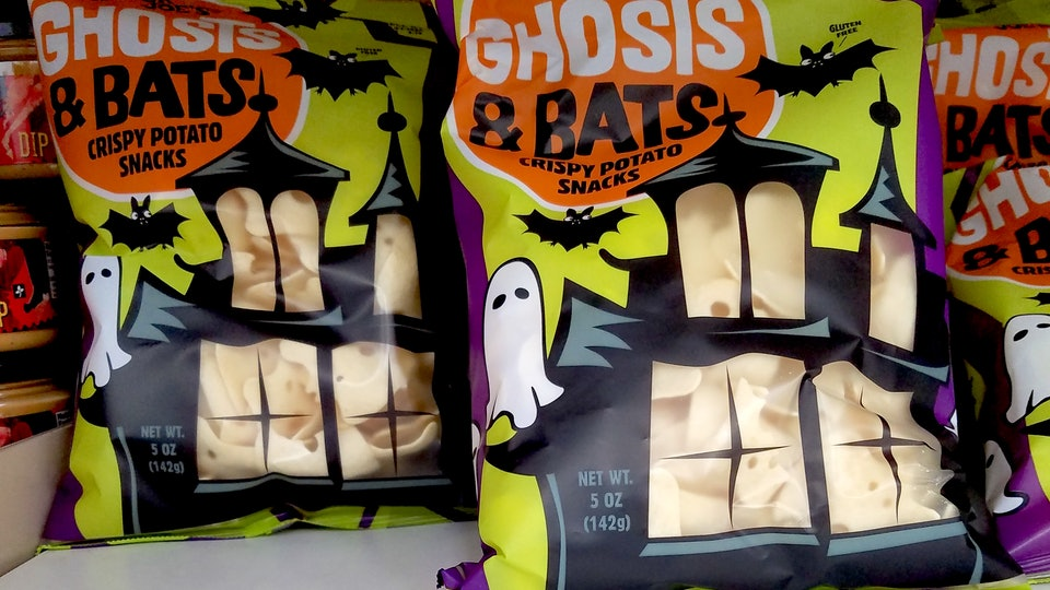 Trader Joe's Halloween ghost and bat-shaped potato snacks are crunchy and gluten-free.