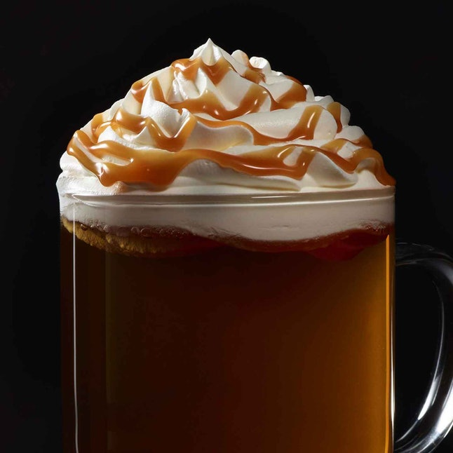 "A Caramel Apple Spice drink at Starbucks, which can be used to order a ""chai-der."""