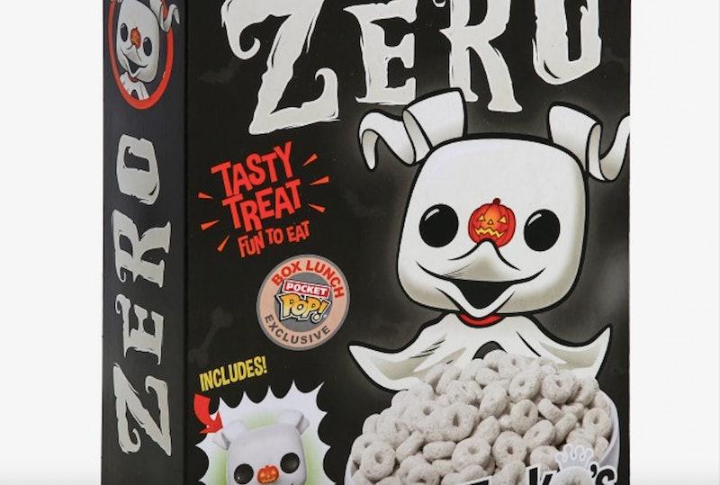 A box of 'Nightmare Before Christmas' Zero FunkO's cereal.