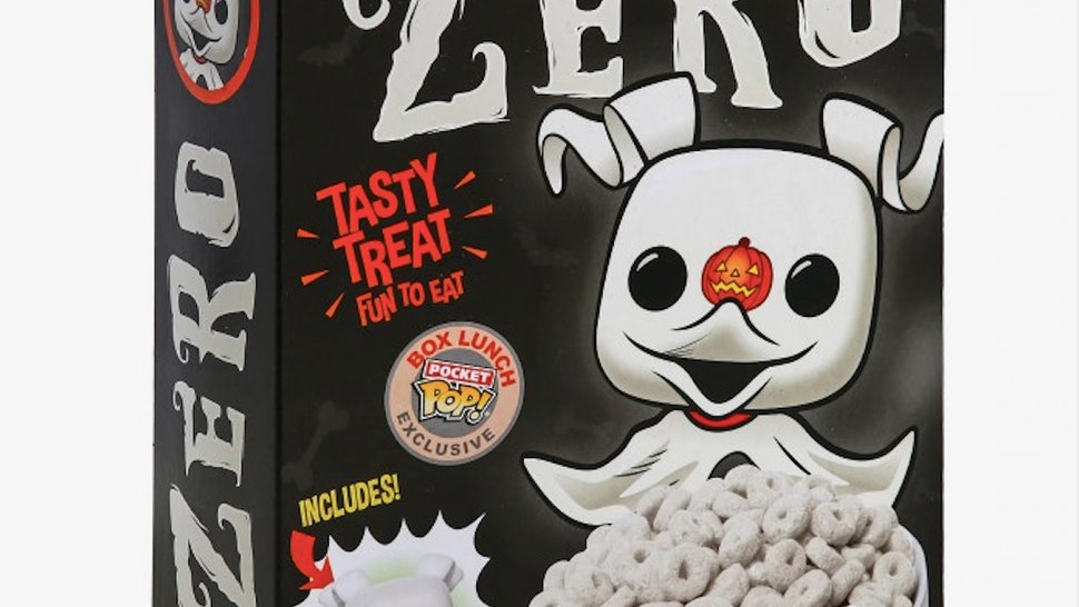 A box of 'Nightmare Before Christmas' Zero FunkO's cereal.