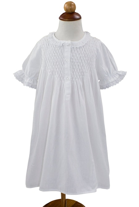 Handmade Girls' Embroidered Lace Vintage Inspired Cotton White Night Dress