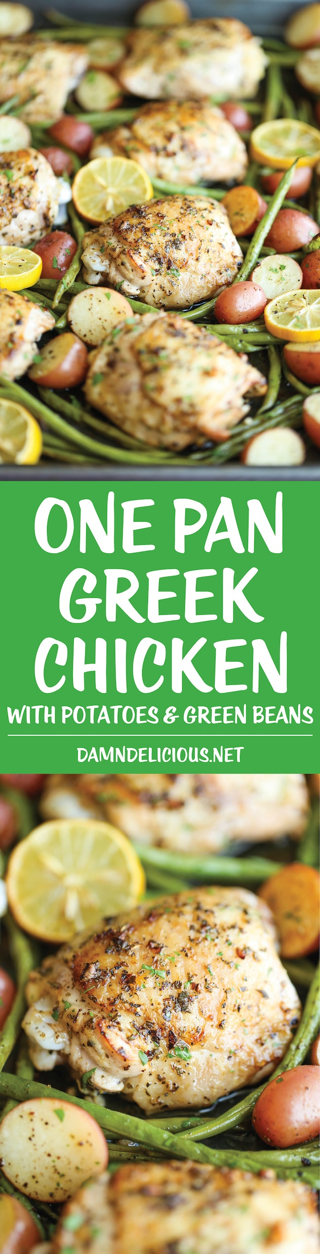 sheet pan recipes with chicken thighs, one pan greek chicken with green beans and potatoes