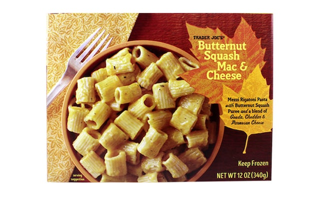 A picture of a box of butternut squash macaroni and cheese from TraderJoe's.