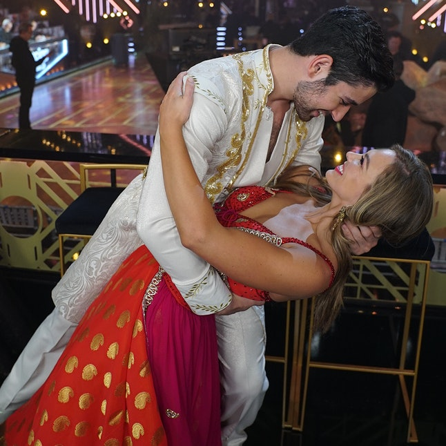 Hannah Brown and Alan Bersten at the filming of Week 5 of Dancing With the Stars.