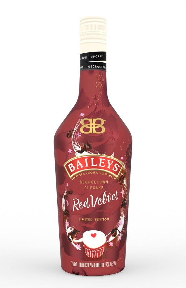Baileys Red Velvet Irish Cream Liqueur is a limited-edition collaboration with Georgetown Cupcake.