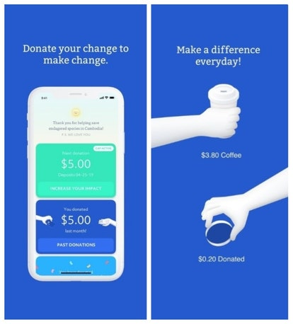 The RoundUp app rounds purchases up to the nearest dollar and donates the spare change to the nonprofit of your choice.