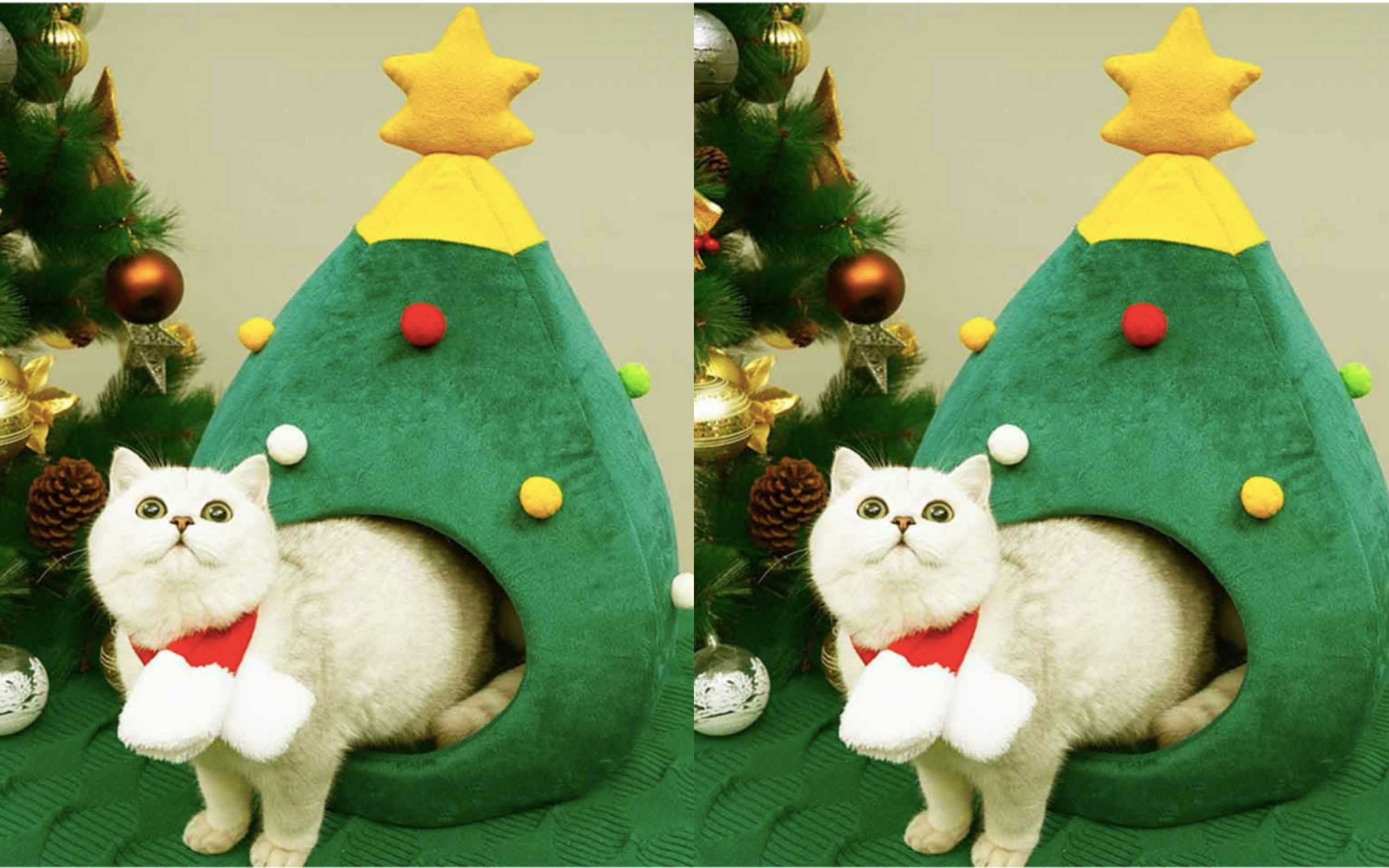 This Christmas Tree Pet House Is A Winter Wonderland For Cats