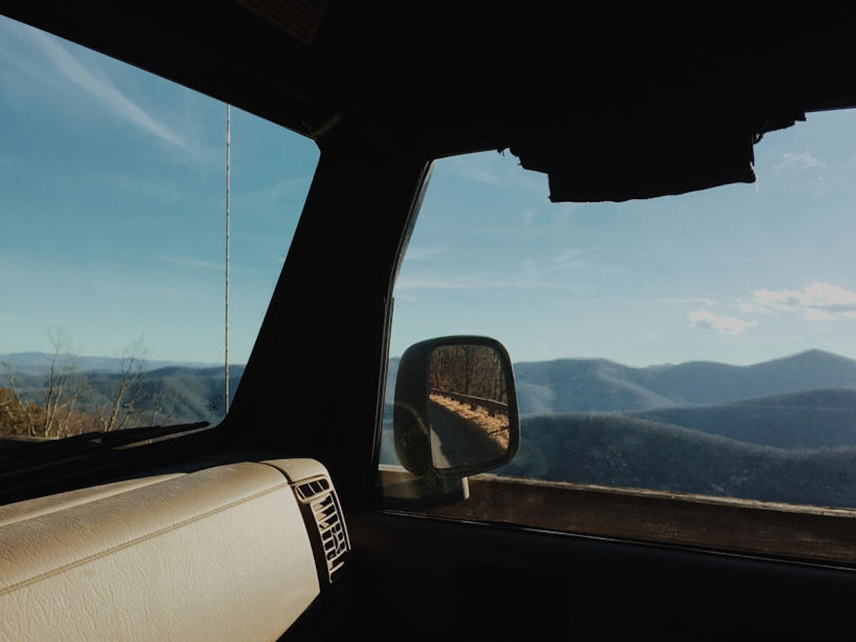 The view from a car window of the Blue Ridge Parkway in North Carolina is made for you and your SO this fall.