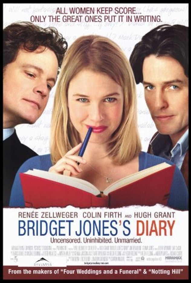 Bridget Jones's Diary movie poster Renee Zellweger, Hugh Grant, Colin Firth