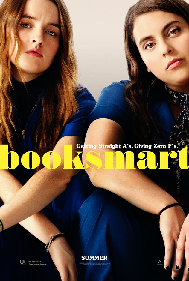 Booksmart movie poster.  Two girls in matching blue jumpsuits sitting side by side
