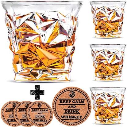 Vaci Glass Diamond Whiskey Glasses (Set of 4)