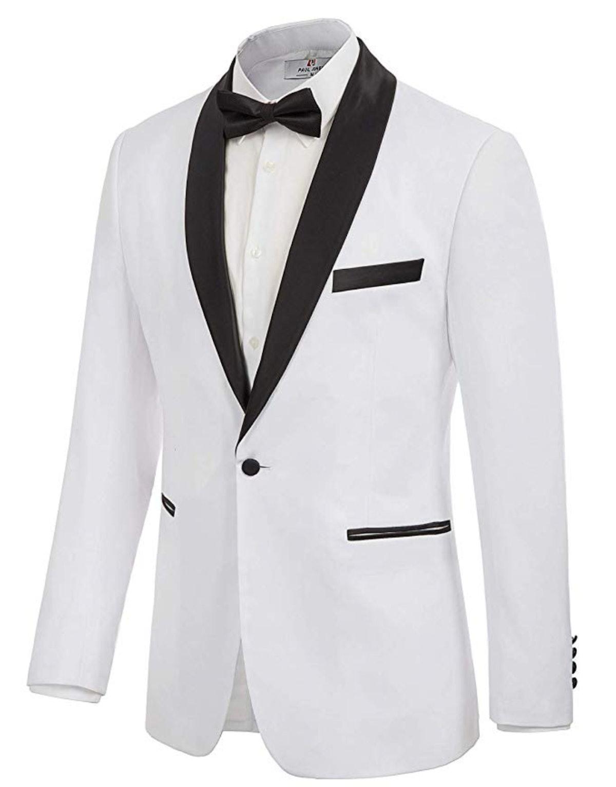 PAUL JONES Men's Prom Tuxedo Jacket Satin Shawl Lapel Slim Fit Blazer Suit