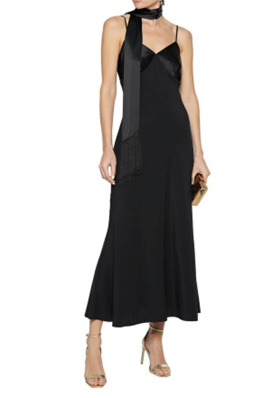 Carine satin-paneled silk-blend midi slip dress