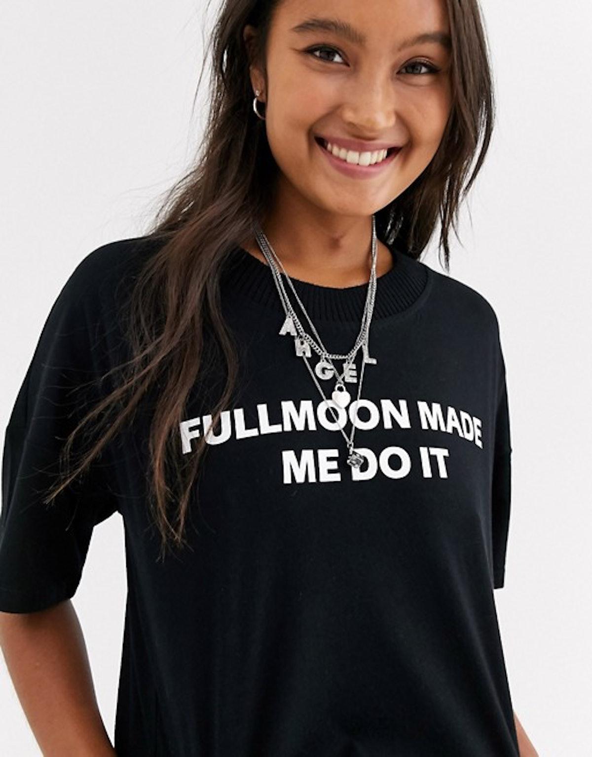 Noisy May Full Moon Logo Ribbed Neck T-Shirt