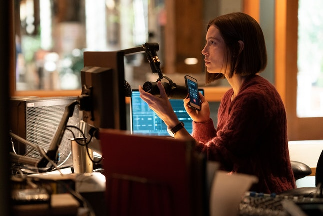 Jessica Biel as Lia Haddock in Facebook Watch's adaptation of the Limetown podcast.