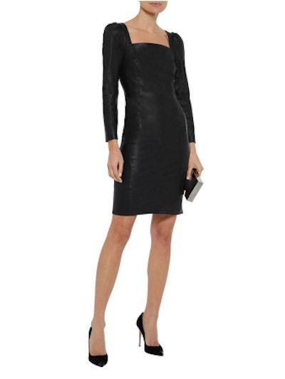 Nicole gathered leather dress