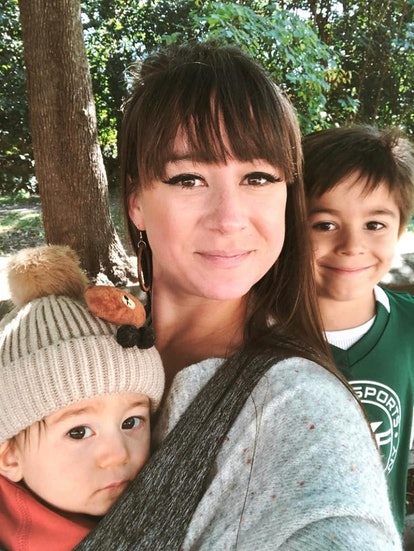 The author with her two children, ages 5 and 11, smiling for the camera.