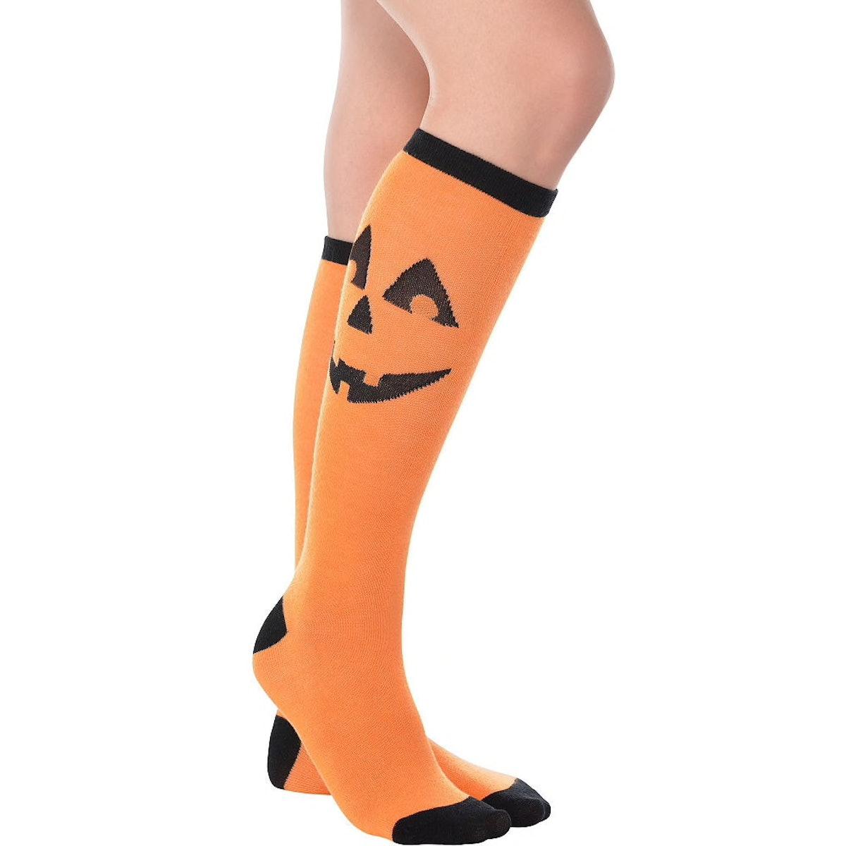 Jack-o'-Lantern Knee-High Socks