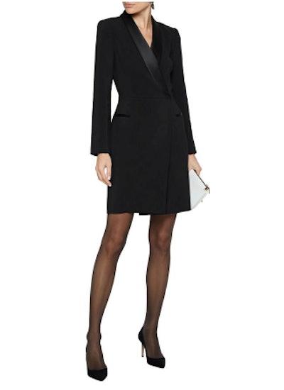 Julia satin-trimmed cady mini tuxedo dress