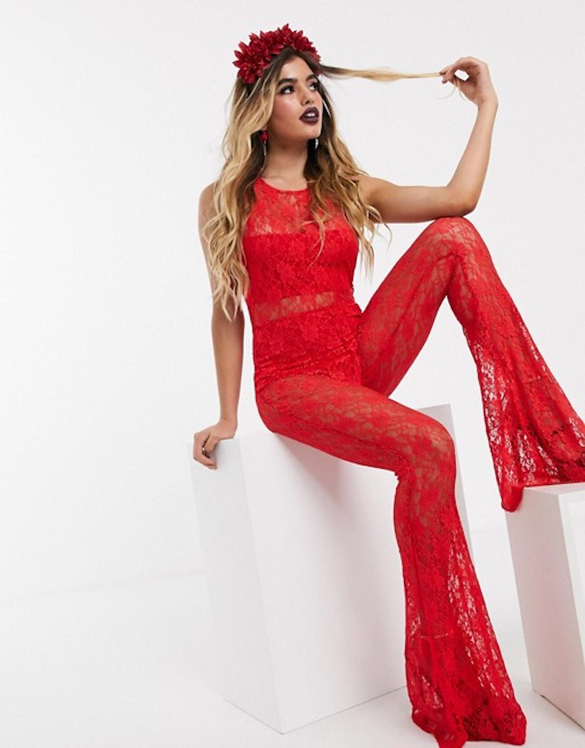 ASOS Design Halloween Red Lace Jumpsuit