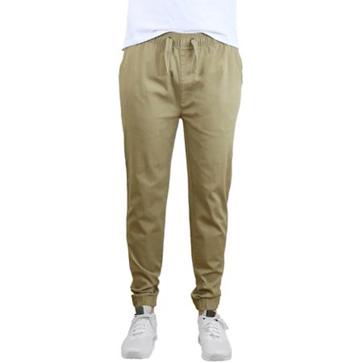Mens Joggers Chino Pants Stretch Twill Slim Fit