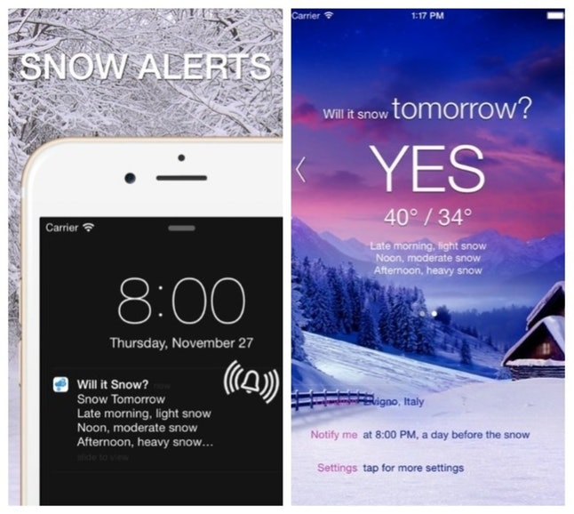"""The """"Will It Snow?"""" app tells you when it's going to snow, so know whether to plan for a white Christmas or not."""