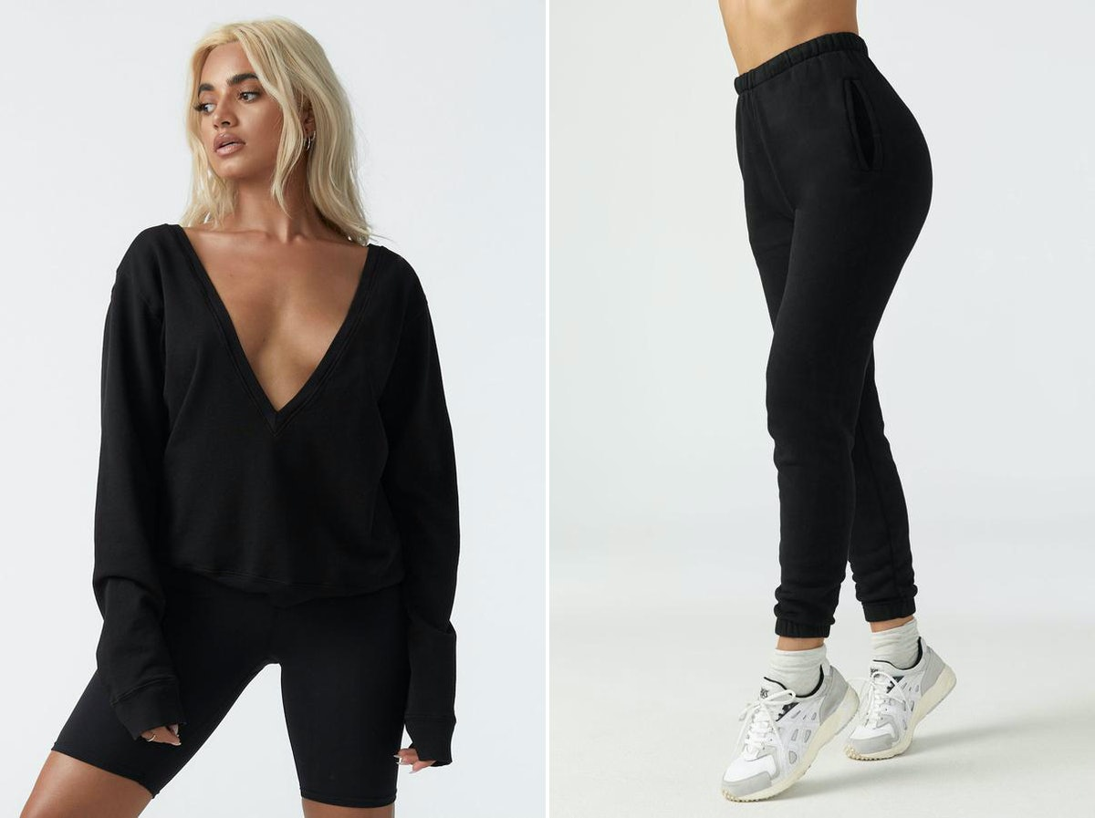 These black sweatsuit pieces make a great comfy plane outfit for fall.