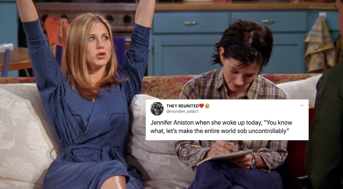 Tweet about Jennifer Aniston joining Instagram on top of a picture of Aniston playing Rachel on 'Friends'