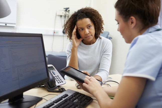 A person hears BRCA test results at the doctor's office. Genetic testing for BRCA gene mutations is an important step to figuring out what to do next.