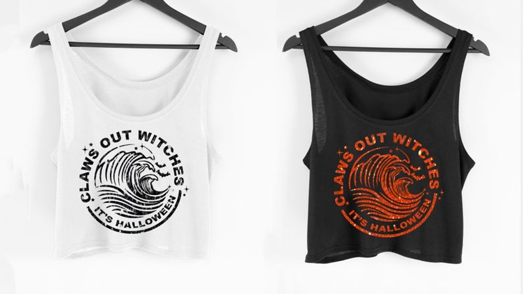 Two spooky White Claw tank tops are great ideas for White Claw Halloween costumes.