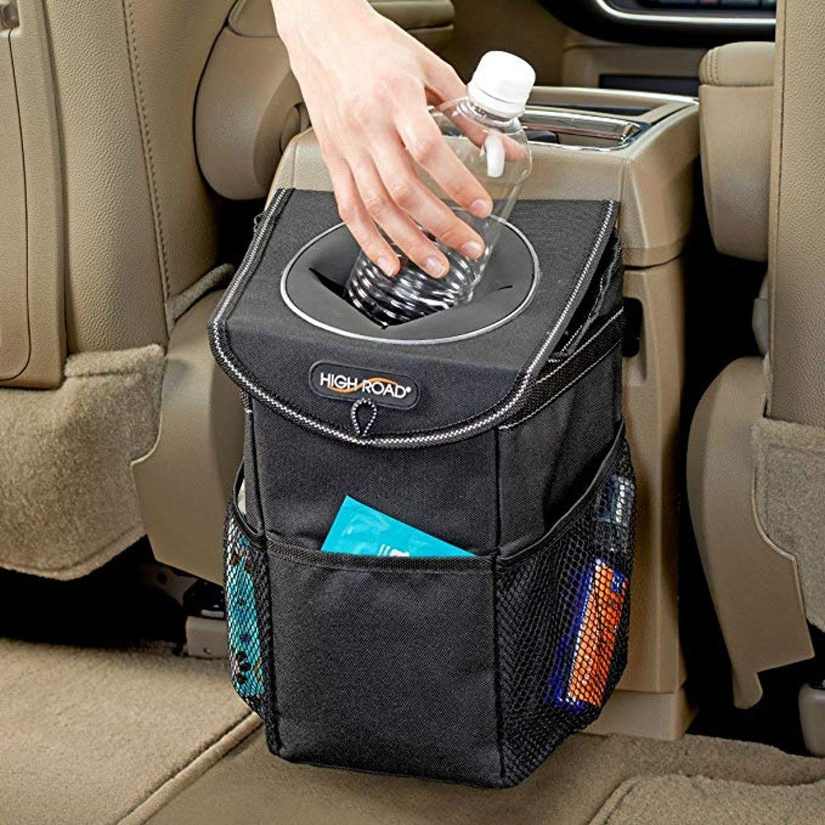 High Road StashAway Console Car Trash Can with Lid