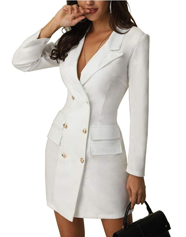 Yaoyaou Women's British Double Breasted Turn Down Collar OL Blazer Dress Slim Fit Office Dress Mini ...