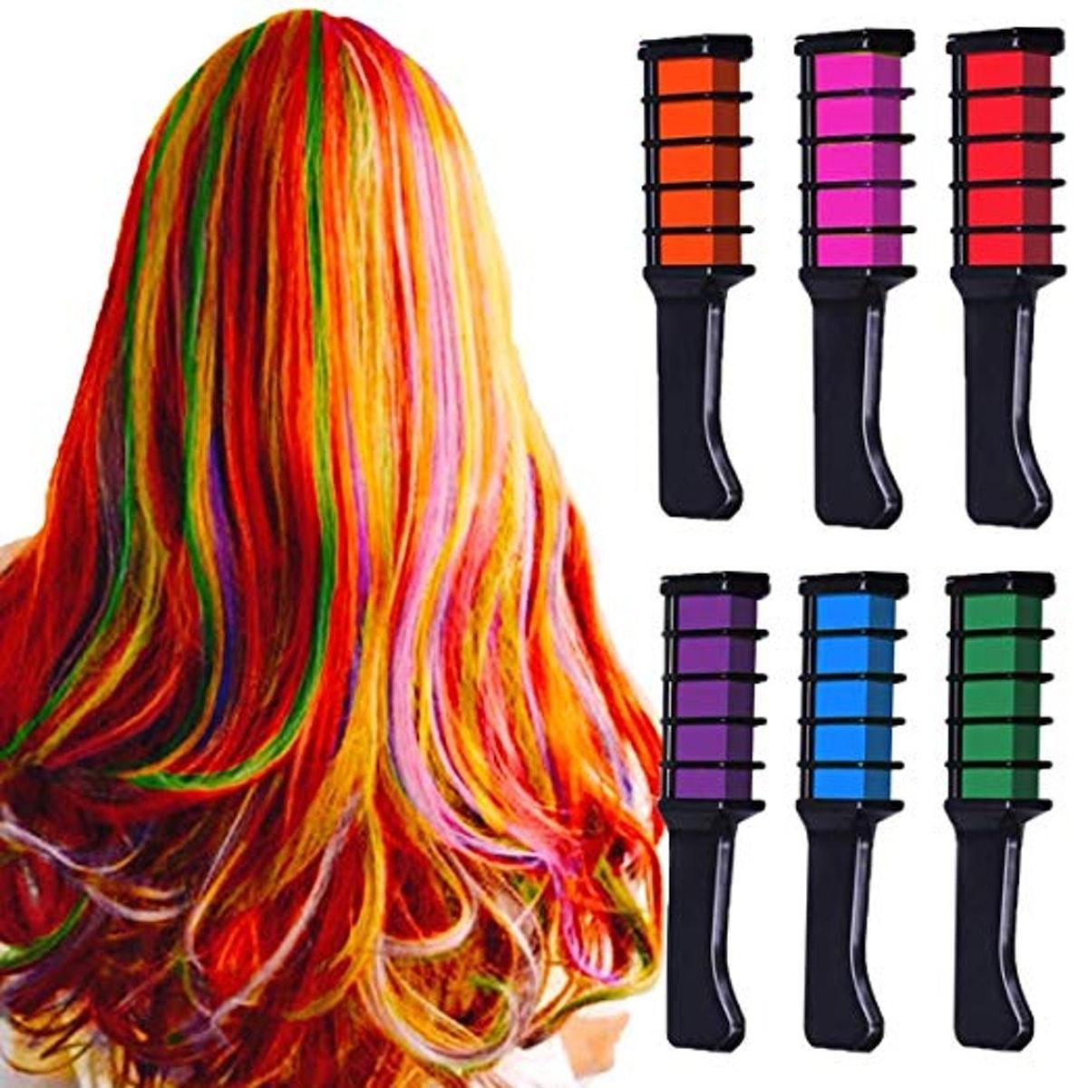 MSDADA Hair Chalk Comb Temporary Bright Hair Color Dye